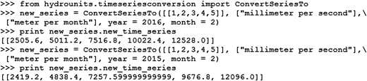 Illustration of time series conversion involving monthly rate values with leap years considered.