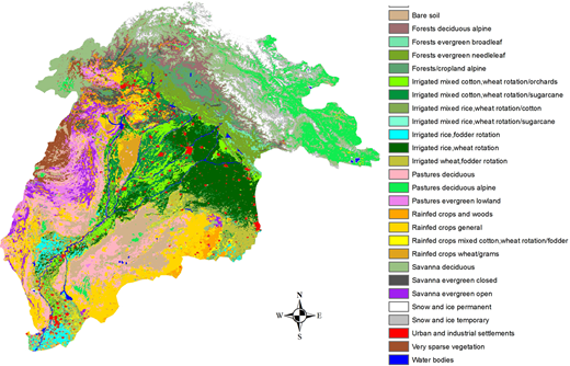 The land use map of the Indus River Basin (Cheema & Bastiaanssen 2010).