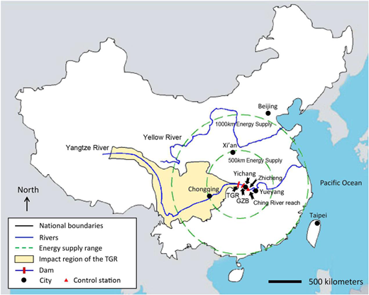 Location and energy supply range of the TGR in China.