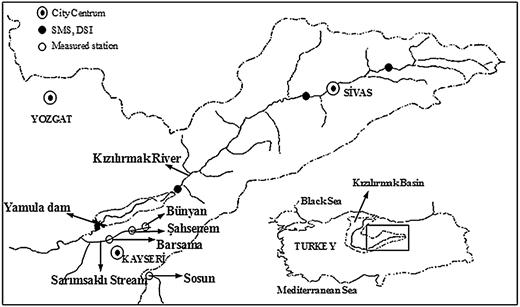 Location of the study area and measurement stations (Ardiclioglu et al. 2012).