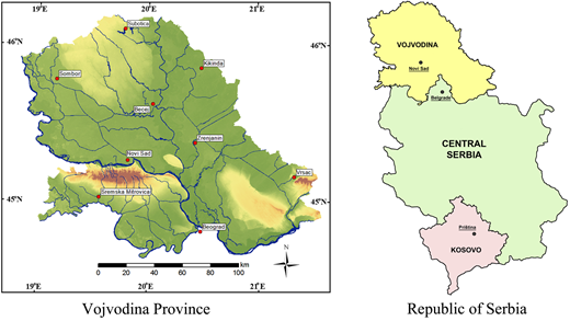 Map of Vojvodina Province and the Republic of Serbia.