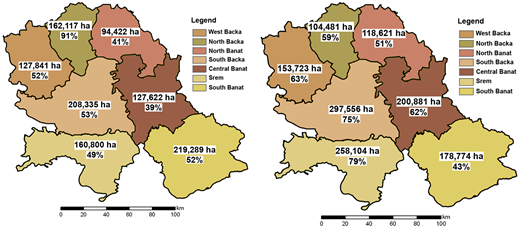 Areas (ha) and percentages per district of the first two suitability zones for Cases 1 and 2. Case 1. Natural resources factors, Case 2. Economic–IN resources factors.