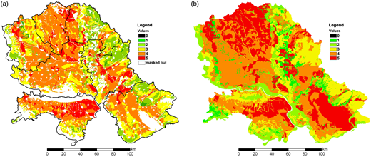 Comparison of developed (final) LSMI (in multi-criteria context) and existing one based on the degree of SO limitations. (a) Developed (final) LSMI, (b) soil suitability map for IR (Miljkovic 2005).