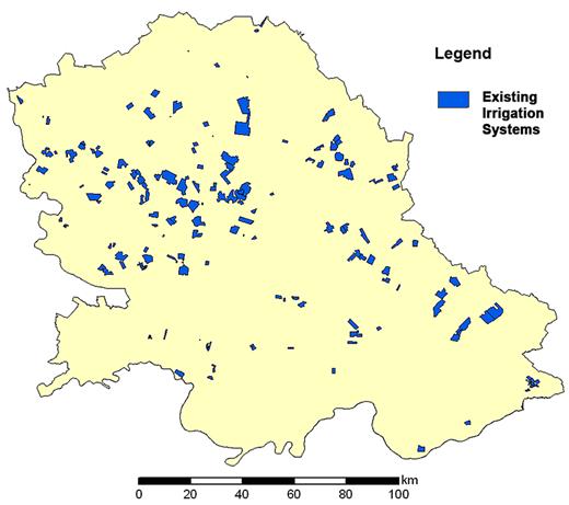 Land under existing IR systems in Vojvodina Province (PWC Vode Vojvodine).