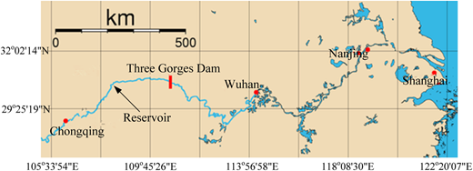 Location of the Three Georges reservoir and main cities along the Yangtze River.