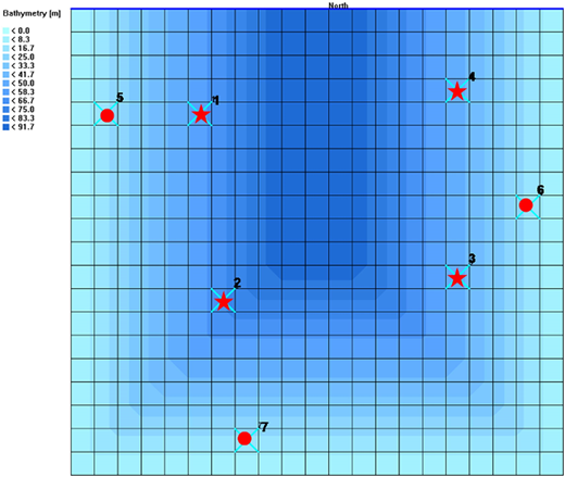 Grid, bathymetry and sample stations for hypothetical bay.