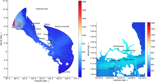 Extent, grid, bathymetry and sample stations of SRM.