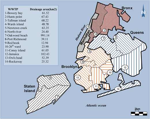 Study area and the location of 14 wastewater treatment plants with the corresponding service areas (adapted from NYCDEP 2013).