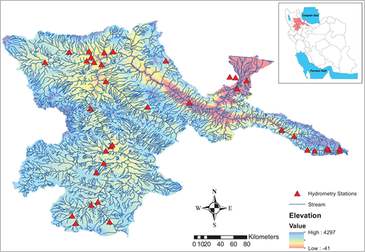 Location map of Sefidroud basin and selected hydrometry stations.