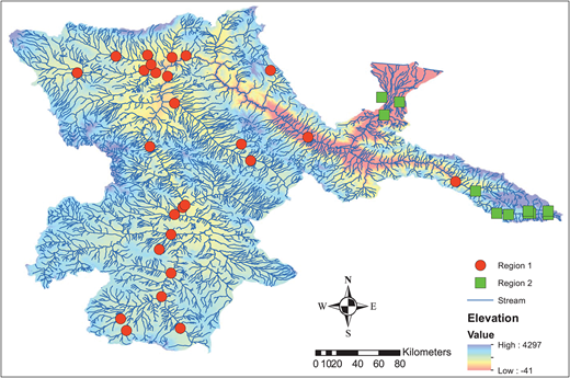 Final assignment of the sites to two optimal regions in Sefidroud basin.