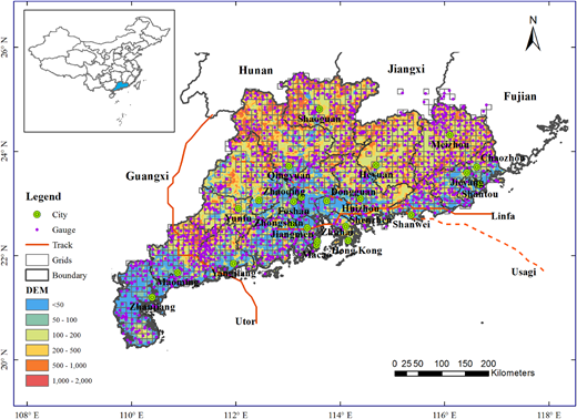 Terrain of Guangdong Province, China, CMPA grids (grey squares), rain gauges (purple dots) and the tracks of three typhoon events (Utor, Usagi and Linfa). Please refer to the online version of this paper to see this figure in color: http://dx.doi.org/10.2166/hydro.2016.241 (open access).