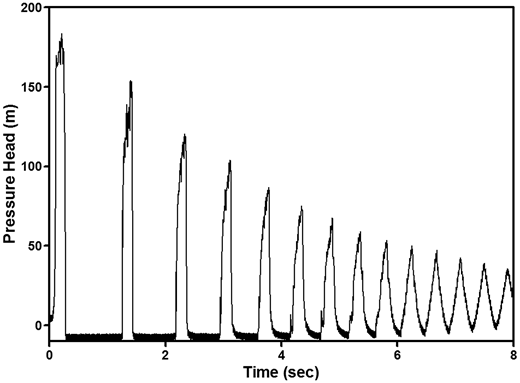 Time series of pressure head values during a single transient event.