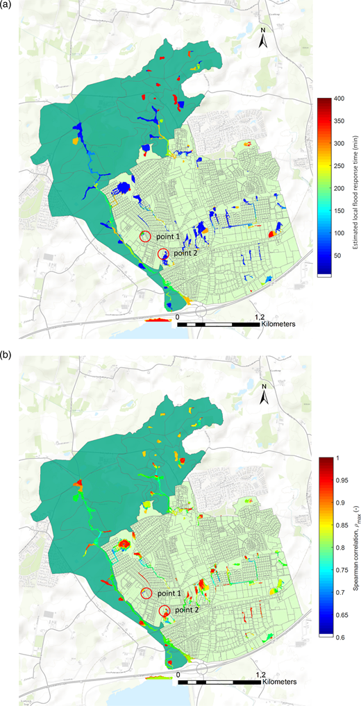 (a) Local flood response time estimation map of flood-prone cells and (b) overall Spearman's correlation coefficient map.