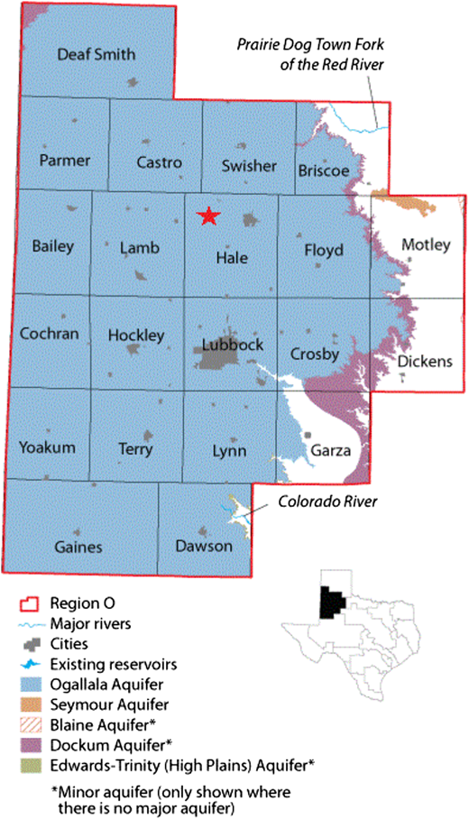 Location of Hale County, Texas Southern High Plains (study area). Source: Texas Water Development Board (2011).