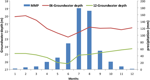 Monthly mean precipitation (MMP) and groundwater depth in plain area in 2006 and 2012.