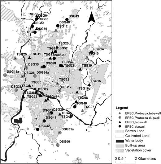 Distribution of sampling sites. DSG: Dug well; TSG: Tube well.