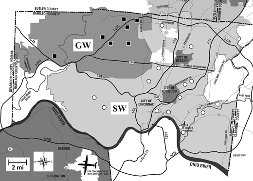 A simplified service area map shows the two service areas associated with groundwater (GW) and surface water (SW) within the distribution system in Hamilton County (Ohio, USA). Figures represent sampling sites at each service area: GW (▪) and SW (○). Modified map from GCWW (2006).