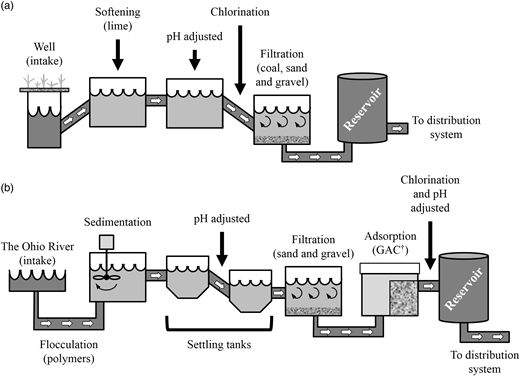 Water treatment process at the (a) Bolton and (b) Miller treatment plant (adapted from GCWW (2006). †GAC, granular activated carbon.
