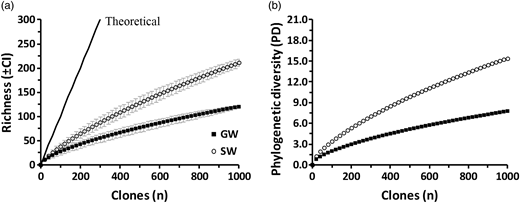Rarefaction analysis of (a) observed phylotypes (±CI) and (b) PD. Each curve represents the cumulative value of 1,000 clones from each water source. GW, groundwater; SW, surface water.