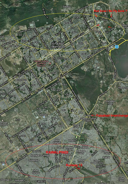 Map showing sampling sites of Rawalpindi and Islamabad (Courtesy Google Maps).