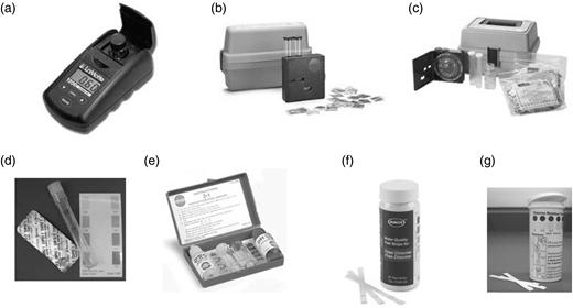 Seven commercially-available FCR test kits evaluated. (a) LaMotte Colorimeter, model 1200 (www.lamotte.com); (b) Hach Color Wheel Test Kit, model CN-66 (www.hach.com); (c) Hach Color Wheel Test Kit, model CN-70 (www.hach.com); (d) LaMotte Test Tube Kit; (e) Pentair Rainbow Pool Chlorine Test kit (www.pentairpool.com/pdfs/rainbowmaintB.pdf); (f) Hach AquaChek Free and Total Chlorine Test Strips (www.hach.com); (g) Precision Laboratories Very Low Level Chlorine Test Strips.