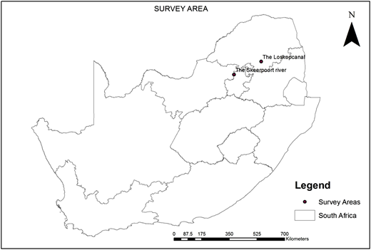 Map showing sampling locations for irrigation water collected from Loskop canal and the Skeerpoort river.