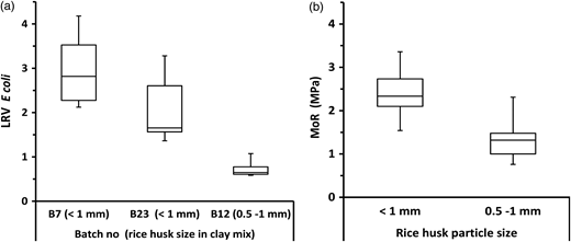 Box-and-whisker plots of LRV and MoR for pots with different rice husk particle sizes. (a) LRV for pots with different rice husk particles; (b) MoR for pots with different rice husk particles.