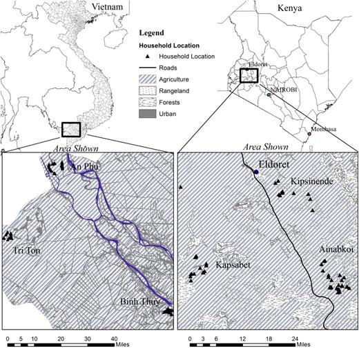 Sampling locations for six communities in Kenya and Vietnam.