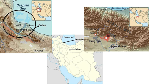 Map of Iran and rivers in Guilan province and Tehran province.
