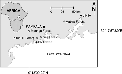 Site map of the four forest reserves located near Uganda's capital city, Kampala (Jovanelly et al. 2012).