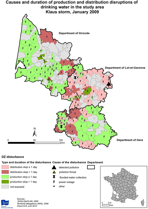 Nature and duration of the post-Klaus reported disruptions for water distribution zones (DZs) in the study area.