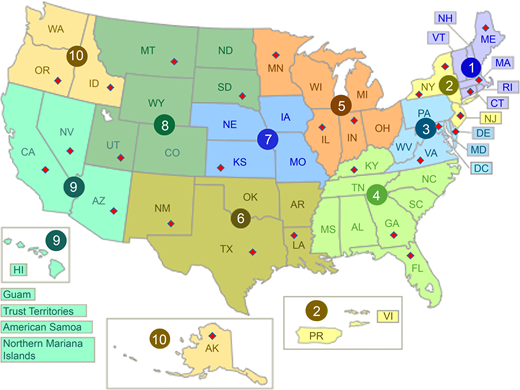 Map of US EPA regions and the states in which the selected CCRs are located – signified by the diamonds (adapted from US Environmental Protection Agency (2014a)).