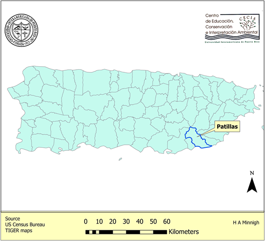 Map of Puerto Rico showing the location of the municipality of Patillas (shaded area) (http://commons.wikimedia.org/wiki/File:Locator_map_Puerto_Rico_Patillas.png#).