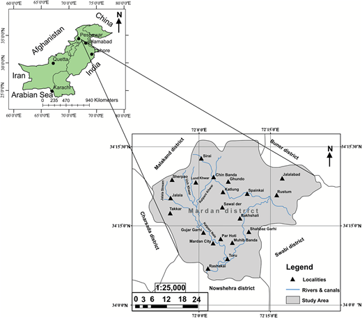 Location map of the study area (Mardan District).