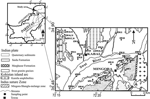 Geological and sample location map for Mingora and Kabal areas (modified after Afridi et al. (1995)).