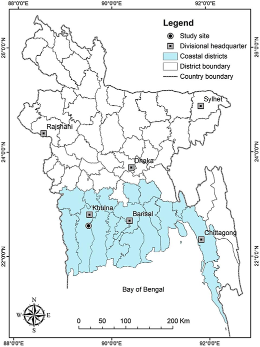 Map of Bangladesh showing the study area.