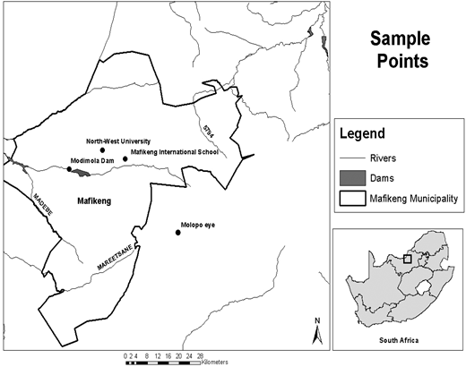 A map of the sample points.