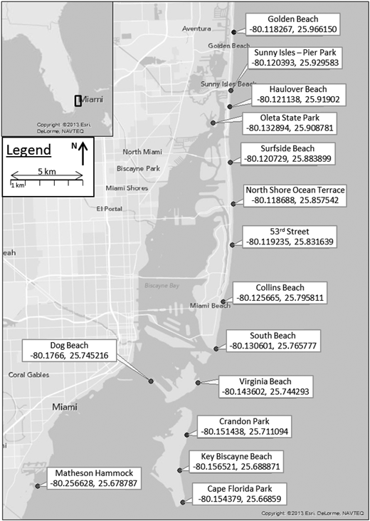 Beach name and GPS location of sampling point for beaches in Miami-Dade County that are included within the Florida Department of Health, Healthy Beaches Program.