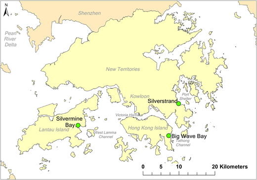 Locations of Big Wave Bay, Silvermine Bay and Silverstrand.