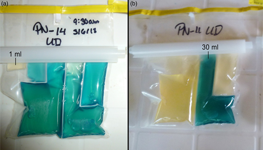 Examples of positive and negative results that can be seen when running a CBT. Blue indicates the compartment is positive for E. coli and yellow indicates it is negative. Photograph (a) shows a test where all compartments except the 1 ml were positive, photograph (b) is a test where only the 30 ml compartment was positive. Please refer to the online version of this paper to see this figure in color.