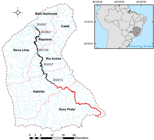 Contact Recreational Index for Rio das Velhas watershed, between 2009 and 2011. River monitoring sites (labelled) are shown as blue dots. Municipal areas in the vicinity of Belo Horizonte City are shown. Colour coding of the main-stem river indicates the median value of the ICB according to Table 3 (black indicates 'Very bad', red indicates 'Unsuitable'). Please refer to the online version of this paper to see this figure in colour.