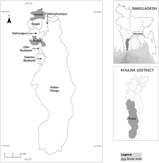 Map showing the study areas in Koyra sub-district of Khulna district in southwestern coastal Bangladesh.