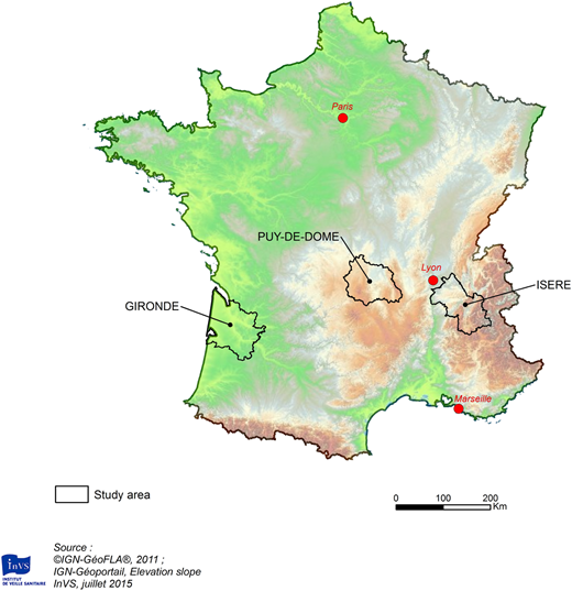 French districts included in the study area.