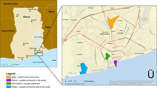 Study area: four low-resource neighborhoods in Accra, Ghana.