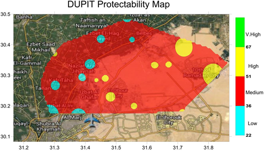 The protectability map of the study area based on the DUPIT index.