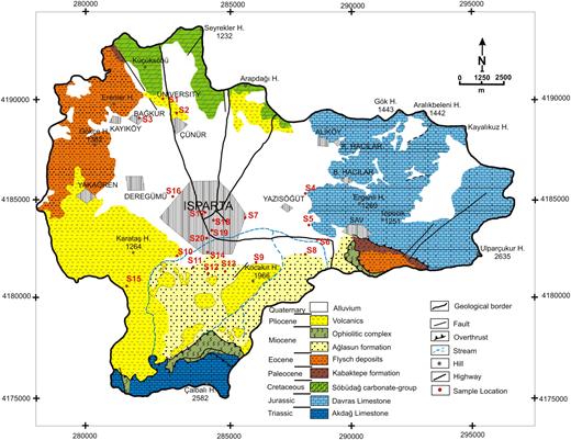 Location and geological maps of the study area (Karagüzel & Irlayıcı 1998).
