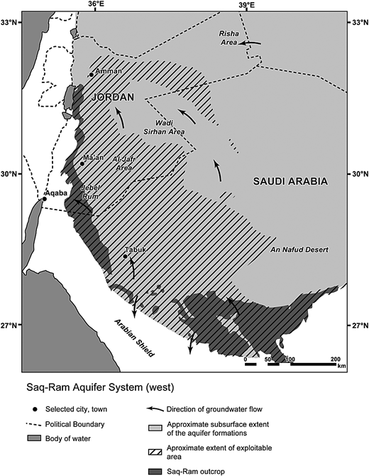 Regional map showing the extents of the confined and unconfined Ram aquifer (adapted from: UN-ESCWA and BGR, 2013. Inventory of shared water resources in Western Asia, Beirut, Lebanon).