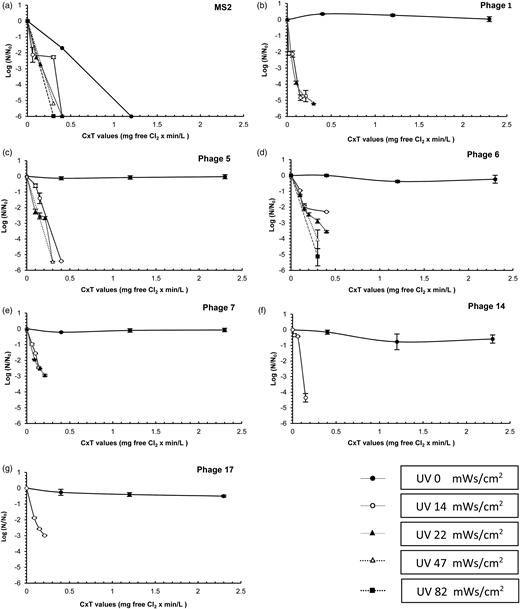 Inactivation of MS2 and six chlorine-resistant coliphages at different Ct values (mg free Cl × min/L) followed with different UV dosage (mWs/cm2) in the combined Cl/UV treatments: (a) coliphage MS2, (b) coliphage 1, (c) coliphage 5, (d) coliphage 6, (e) coliphage 7, (f) coliphage 14, and (g) coliphage 17. In the combined treatments the concentrations of free chlorine varied from 0.02 to 0.08 mg/L and time from 1 to 10 min. The pH of the water was 7.2–7.4 and the temperature was 20–21 °C.