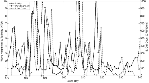 Comparison of the measured daily turbidity, wave height and daily E. coli counts for 2013.