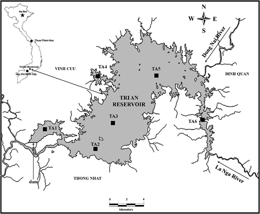 Map of Tri An Reservoir with sampling sites (TA1–TA6) for the monitoring of environmental factors, phytoplankton and cyanobacterial toxins.